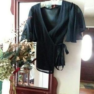 Banana Republic Black flutter sleeve wrap top
